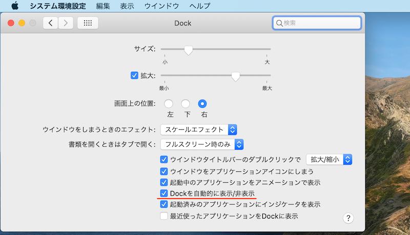 システム環境設定からDockを自動的に隠す手順2