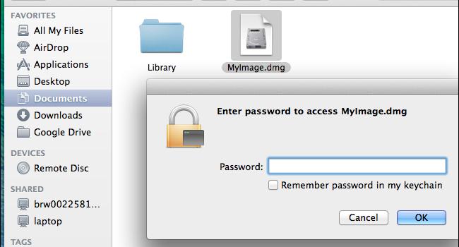Macで複数ファイルにパスワードをかけたい時、dmgファイルを作成しよう。