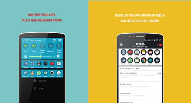 【Android】お気に入りのアプリを通知領域に表示「DIESEL」