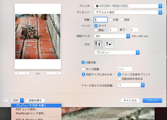 mac プレビュー pdf 印刷 白黒