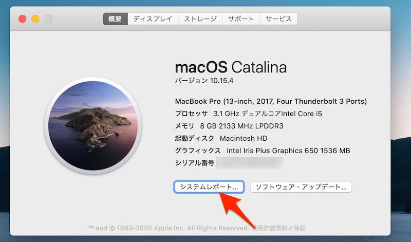 Macのシステムレポートより電池性能を確認する手順2