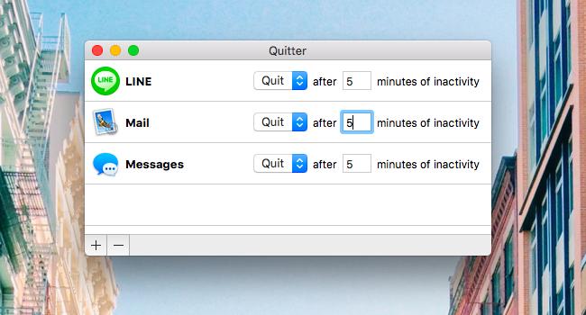 Quitter – Macで使っていない指定アプリを一定時間後 自動的に閉じる無料アプリ