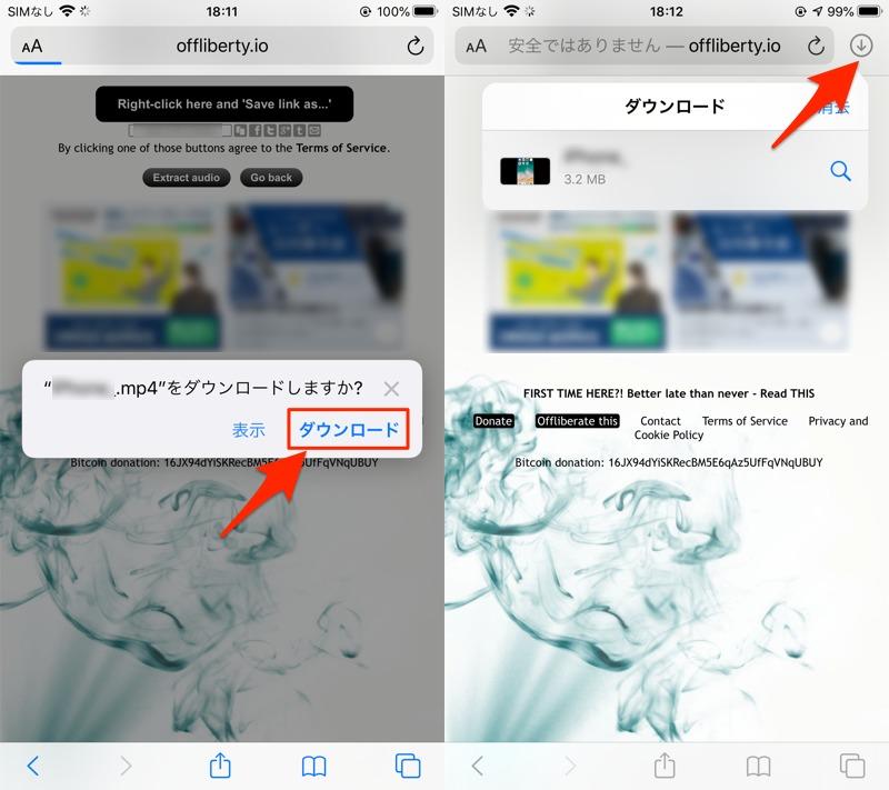 サイトOfflibertyからiPhoneでYouTubeをダウンロードする手順2