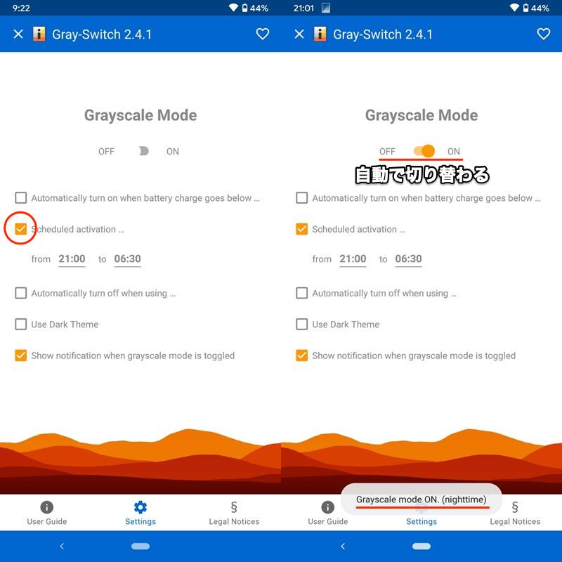 アプリGray-Switchで画面を白黒に変える手順7