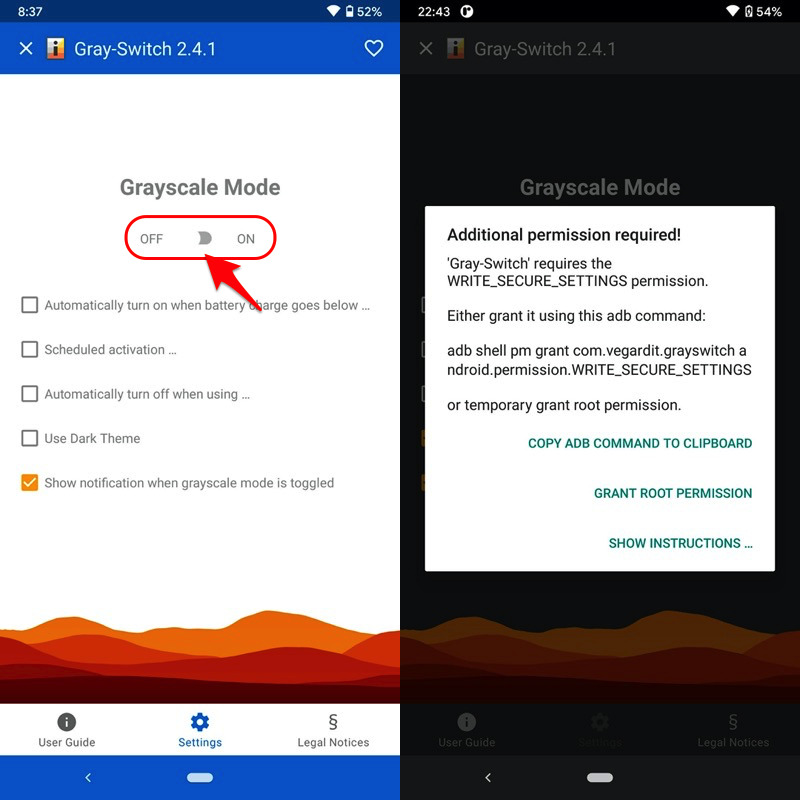 アプリGray-Switchで画面を白黒に変える手順3