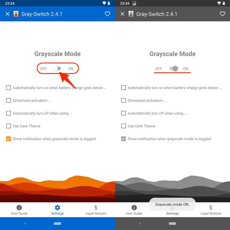 アプリGray-Switchで画面を白黒に変える手順2