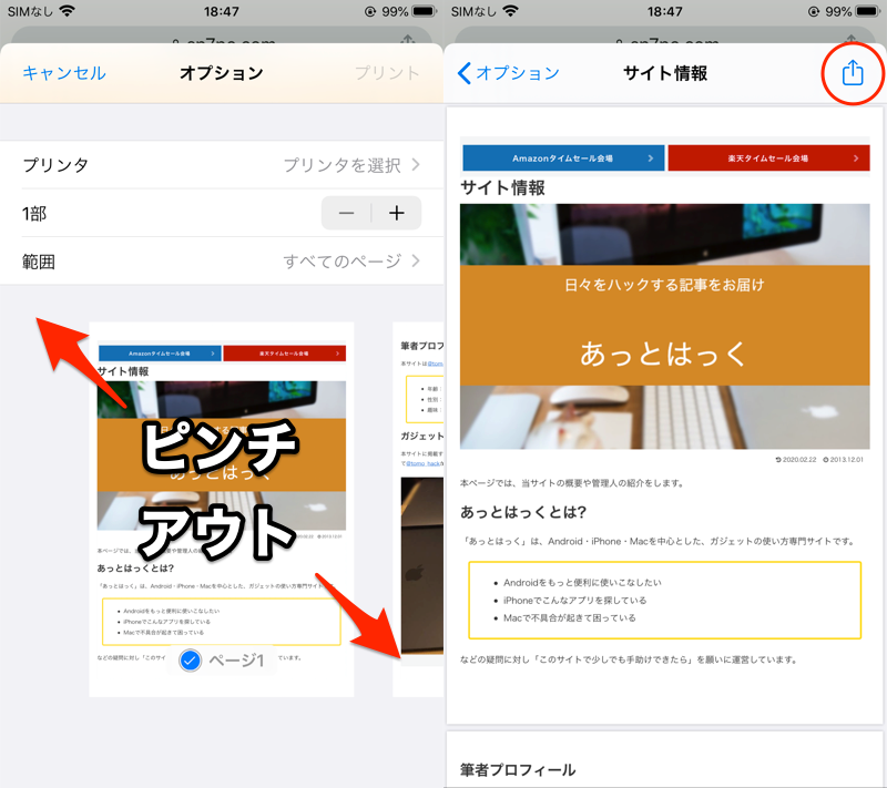 iOS Chromeなどの印刷メニューでPDFを作成する手順2