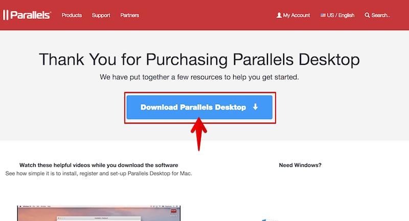ParallelsをMacにインストールする手順2