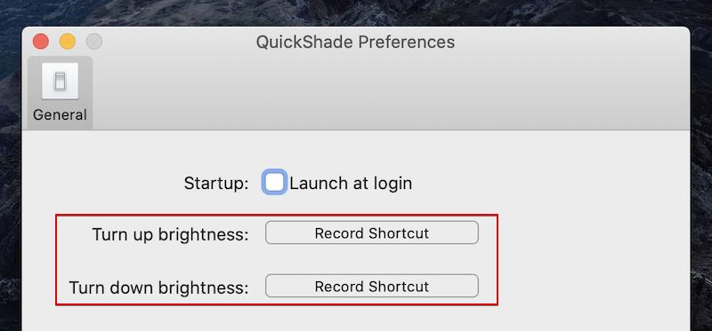 QuickShadeのショートカットキーで明るさを調整する手順2