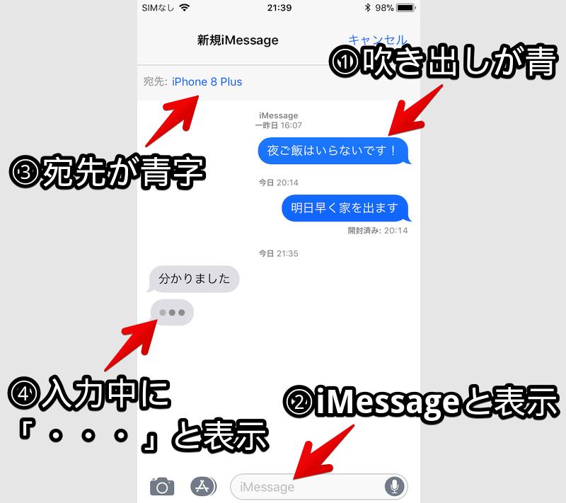 iOSでiMessageかどうか見分けるポイント