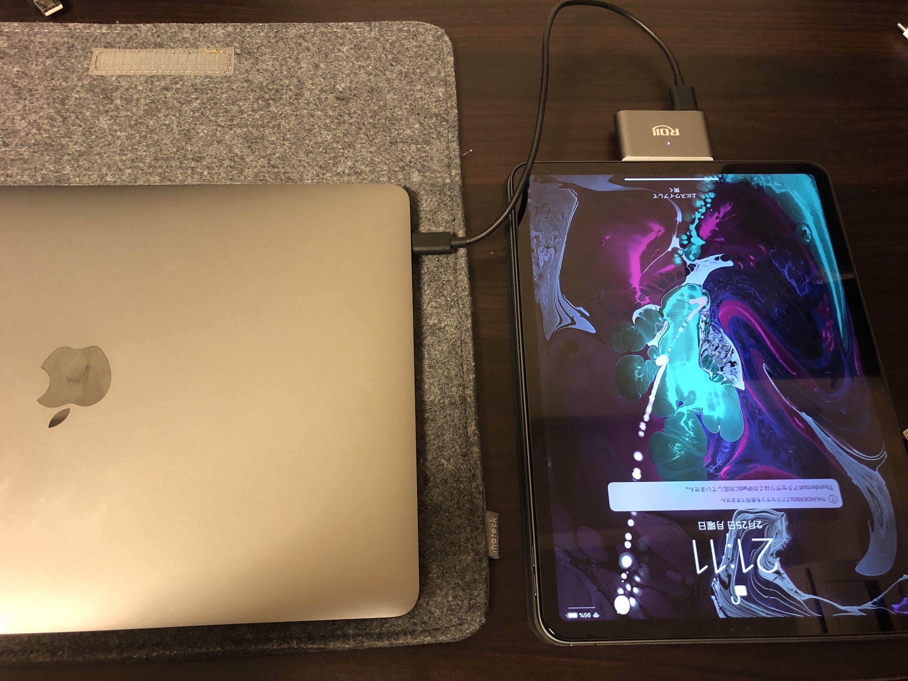 iPadからMacへ給電する例