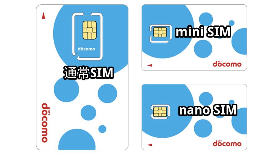 SIMカードのサイズ3種類