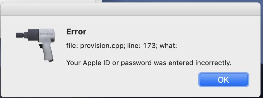 Apple IDとパスワードが誤っているエラー