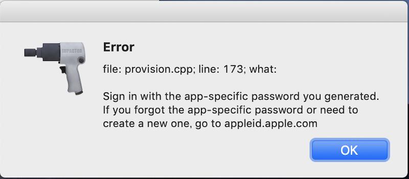 正しいApp用パスワードを入力できていないエラー