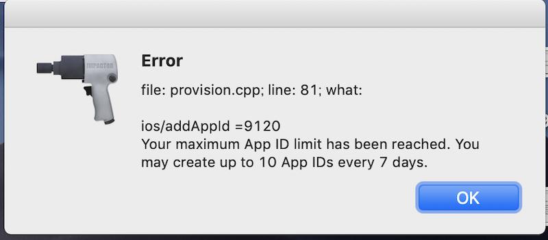 """Apple IDの週あたりインストール可能数""""10""""を超過しているエラー"""