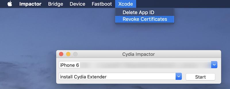 Revoke Certificatesを実行する手順1
