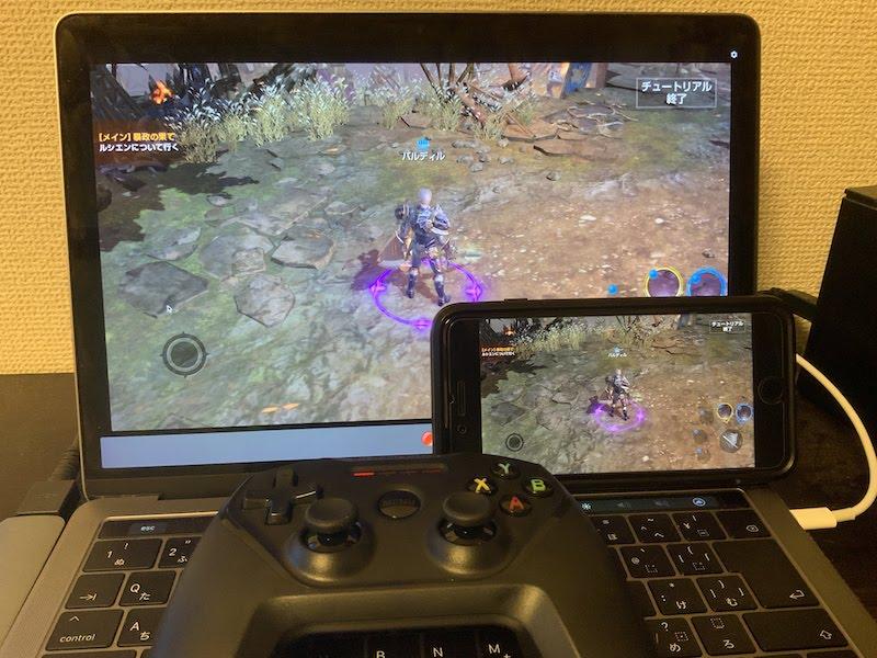 iOSにゲームパッドを接続してPCにミラーリングする画面