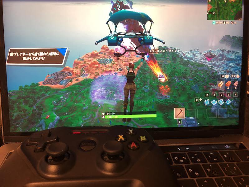 MacとMFiコントローラーを接続した画面